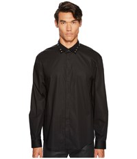 Versace Metallic X Applique Button Down Black Men's Clothing