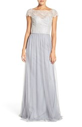 Hayley Paige Occasions Women's Cap Sleeve Metallic Lace And Tulle Gown Silver Pewter