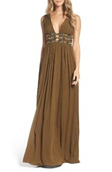 French Connection Women's Hasan Beaded Maxi Dress Military Green