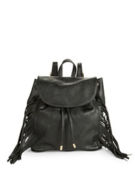 Kensie Fringe Trimmed Backpack Black