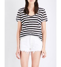 Ksubi Semi Sheer Striped Jersey T Shirt Black White