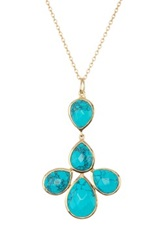 Argentovivo 18K Gold Plated Sterling Silver Turquoise Flower Pendant Necklace Metallic
