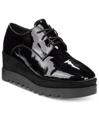 Wanted Beckham Lace Up Wedge Oxfords Women's Shoes Black Patent