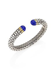John Hardy Batu Dot Lapis Lazuli 18K Yellow Gold And Sterling Silver Medium Kick Cuff Bracelet