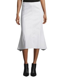 Derek Lam Flared Cotton Blend Midi Skirt White