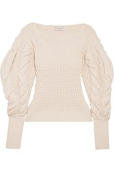 Christophe Lemaire Cable Knit Wool Sweater Cream