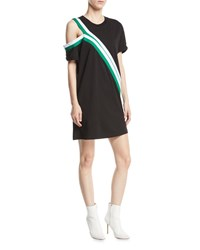 Current Elliott The Silt Striped Tee Dress Black Pattern