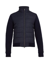 Herno Quilted Panel Wool Bomber Jacket Navy