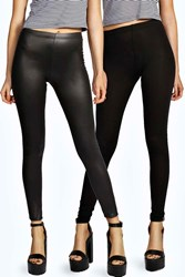 Boohoo Mixed Two Pack Wet Look And Jersey Leggings Black