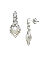 Lord And Taylor Sterling Silver Fresh Water Pearl Crystal Earrings Pearl Silver