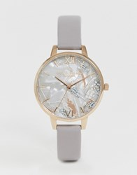 Olivia Burton Ob16vm37 Abstract Floral Leather Watch Grey