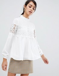 Girls On Film High Neck Blouse With Crochet Inserts Cream