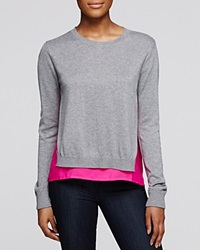 Aqua Knit Pullover Heather Grey Hot Pink