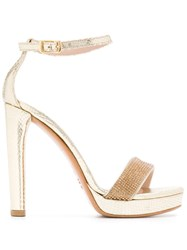 Albano Sequinned Strap Sandals Gold