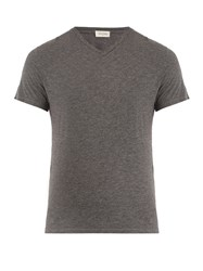 American Vintage Jacksonville V Neck Cotton Blend T Shirt Charcoal