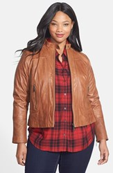 Plus Size Women's Bernardo Leather Front Zip Scuba Jacket