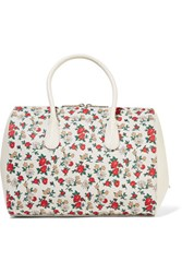 Nina Ricci Small Floral Print Canvas And Leather Tote Cream