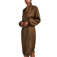 Raquel Allegra Washed Satin Utility Shirtdress Green