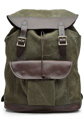 Filson Twill Backpack With Leather Green