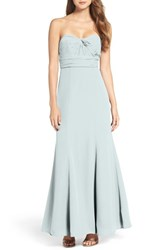 Wtoo Women's Strapless Chiffon Gown Light Blue