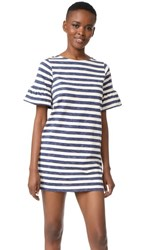 Chinti And Parker Bell Sleeve Shift Dress Ivory Indigo