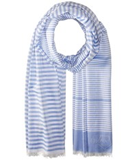 Z Zegna Striped Scarf Blue White Scarves