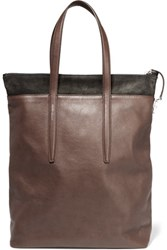 Agnona Suede Trimmed Textured Leather Tote Dark Brown