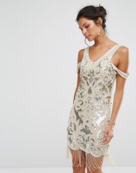 Frock And Frill Premium Embellished Mini Dress With Beaded Tassel Hem Taupe Gold Multi