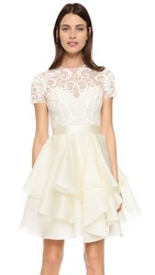 Marchesa Embroidered Lace Cocktail Dress Ivory