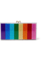 Charlotte Olympia Penelope Crystal Embellished Glittered Perspex Clutch Purple