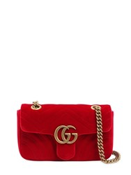 Gucci Mini Gg Marmont 2.0 Velvet Shoulder Bag Red