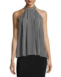 Michael Michael Kors Grommet Embellished Halter Neck Top Black Pattern