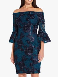Adrianna Papell Off Shoulder Embellished Cocktail Dress Midnight Teal Navy