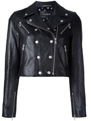 Dolce And Gabbana Cropped Leather Jacket Black