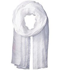 Betsey Johnson Two Tone Embroidered Wrap White Scarves