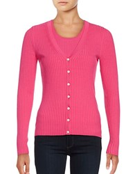 Lord And Taylor Plus Long Sleeve V Neck Ribbed Cardigan Tulip Pink