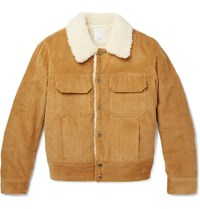 Sandro Faux Shearling Lined Cotton Corduroy Jacket Mustard