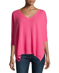 Minnie Rose Cashmere 3 4 Sleeve V Neck Boyfriend Sweater Pink Flami