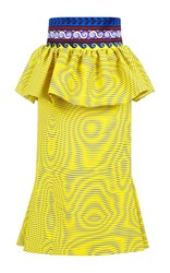 Mary Katrantzou Leto Silk Peplum Midi Skirt Yellow Blue