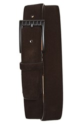 Salvatore Ferragamo Men's Big And Tall Suede Belt Black