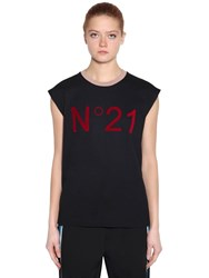 N 21 Logo Cotton Jersey Sleeveless T Shirt Black