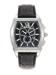 Saks Fifth Avenue Stainless Steel And Croc Embossed Men's Watch Black Silver