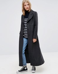 Asos Fitted Maxi Coat In Wool Blend Charcoal Grey