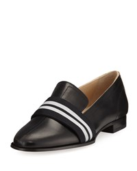 Rag And Bone Amber Striped Web Leather Loafer Black