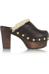 Giuseppe Zanotti Shearling Lined Textured Leather Clogs Black