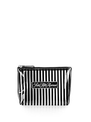 Saks Fifth Avenue Signature Striped Zip Pouch Black White