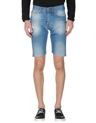 Minimal Denim Denim Bermudas Men Blue