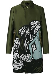 Oamc Illustrated Trench Coat Green