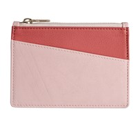 Stow Luxury Soft Leather Coin Purse And Card Wallet Spring Pink And Peach Pink Purple