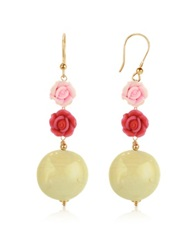 House Of Murano Rose Murano Glass Drop Earrings Pink